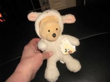 COLLECTABLE SOFT STUFFED WALT DISNEY POOH BEAR IN LAMB WOOLLY OUTFIT WITH EARS